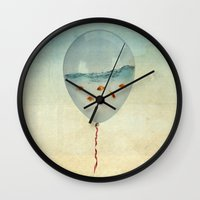 clouds Wall Clocks featuring balloon fish by Vin Zzep