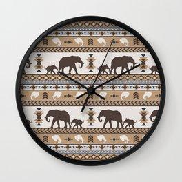 Boho animals | Elephants tan Wall Clock