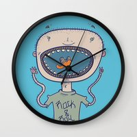 rock and roll Wall Clocks featuring Rock & Roll by Molly Yllom Shop
