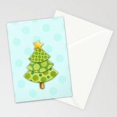 Aqua Polka Dots Christmas Stationery Cards