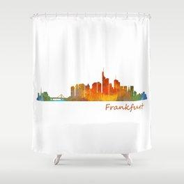 Frankfurt am Main, City Skyline, Citiscae art watercolor V1 Shower Curtain