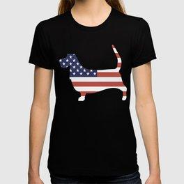 Basset-Hound-tshirt,-patriotic-Basset-Hound T-shirt
