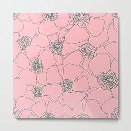 Blooms Everywhere Line Art No 01 Metal Print