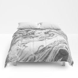 Akio - black and white grey minimal modern abstract marble painting retro minimalism urban bklyn Comforters