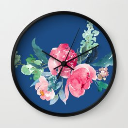 Blue and Pink Peony Watercolor Wall Clock