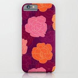 Layered Roses in Pink, Orange & Red on Dark Plum (pattern) iPhone Case