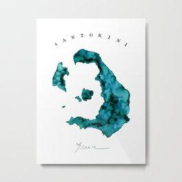 Islands: Santorini Watercolor Map Metal Print