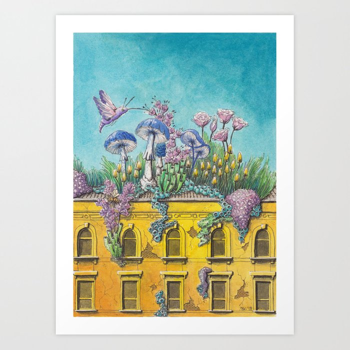 Yellow Building in Pilsen with Natural Growth Art Print