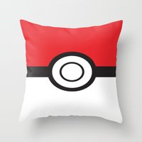 pokeball Throw Pillows featuring Pokeball by Simply Prints