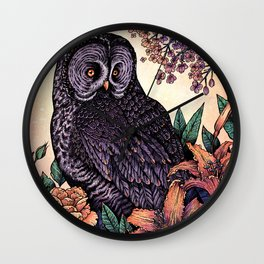 Great Grey Owl At Sunset Wall Clock