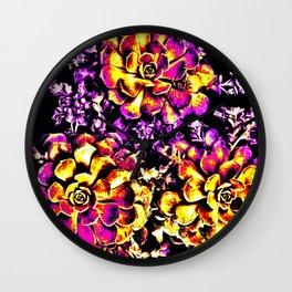 Purple Yellow Flower Plant, Pop Art Wall Clock