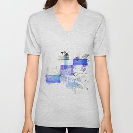 Navy Blue Simple Lines And Flowers Unisex V-Neck
