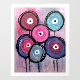 Abstract Circle Flowers Art Print