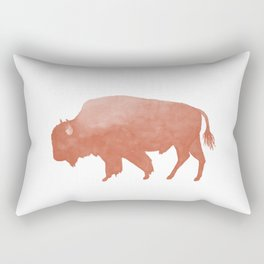 Watercolor Bison in Peach Rectangular Pillow