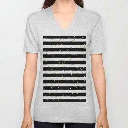 Hand drawn pattern, black and white stripes and gold dots Unisex V-Neck