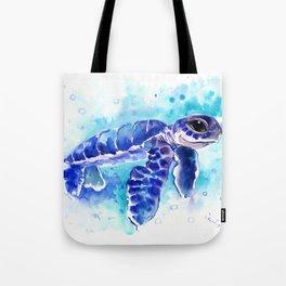 Blue Hawaiian Sea Turtle, Turquoise Blue Cute Animal Sea world Art Tote Bag