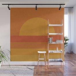 Retro Geometric Sunset Wall Mural