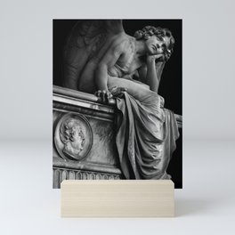 Giulio Monteverde and the Angel of the Night in Campo Verano black and white photograph / art photography Mini Art Print