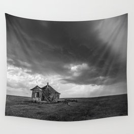 Sweeping Down the Plains - Abandoned House and Storm in Oklahoma Wall Tapestry