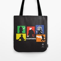 guardians Tote Bags featuring Guardians by PeterParkerPA