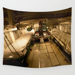 The USS Batfish SS-310 - A Perspective Panorama of the Forward Torpedo Room Wall Tapestry