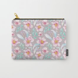 Modern elegant hand painted pink teal yellow watercolor floral Carry-All Pouch