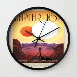 NASA Space Travel Retro Poster Kepler- 16B Wall Clock