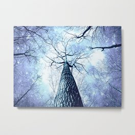 Wintry Trees Periwinkle Ice Blue Space Metal Print