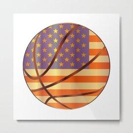 Basketball Stars And Stripes Metal Print