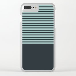 Navy stripes on turquoise Clear iPhone Case