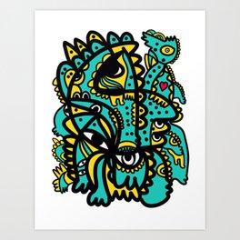 Green Aqua Yellow Graffiti Creatures by Emmanuel Signorino Art Print