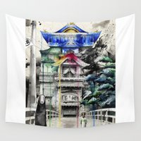 spirited away Wall Tapestries featuring Spirited Away by Sandra Ink