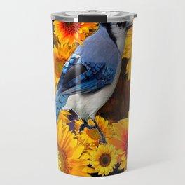 DECORATIVE BLUE JAY YELLOW SUNFLOWERS BLACK ART Travel Mug