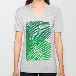 Modern Tropical Palm Leaves Painting black background Unisex V-Neck