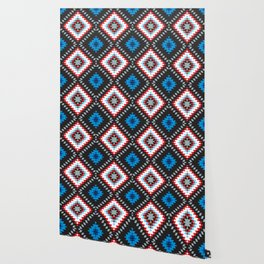 Colorful patchwork mosaic oriental kilim rug with traditional folk geometric ornament. Tribal style Wallpaper
