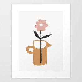 Aella - earthtones minimalist vase with florals simple art print for home decor Art Print