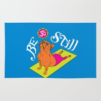 frenchie Area & Throw Rugs featuring Frenchie Yoga by Huebucket