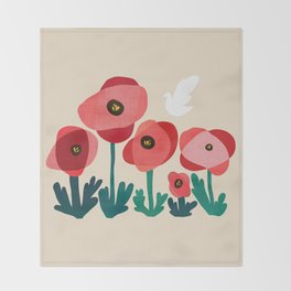 Poppy flowers and bird Throw Blanket