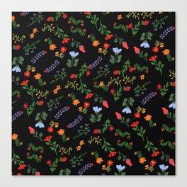 Dark Flower Pattern Canvas Print