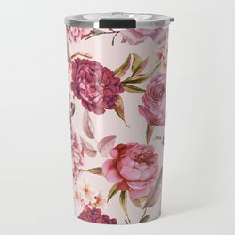 Blush Pink and Red Watercolor Floral Roses Travel Mug