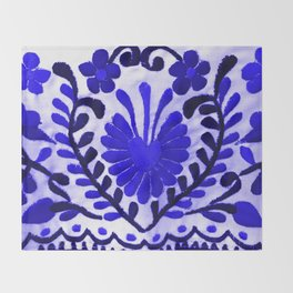 Beautiful Midnight Blue Mexican Flower Throw Blanket