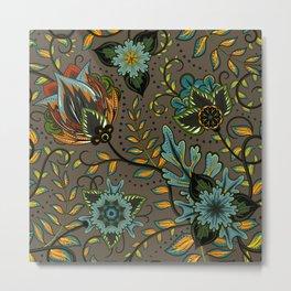 Boho Floral Pattern 17 Metal Print