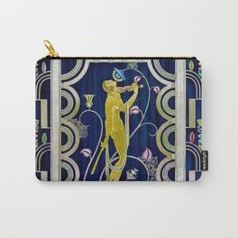 Muse with Violin Art Deco Flowers and Nude Portrait Painting Carry-All Pouch