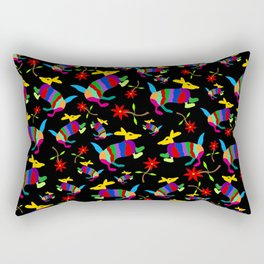 Armadillos and Flowers - Pattern on Black Rectangular Pillow