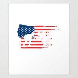 Wresting American Flag Wrestlers Print Art Print