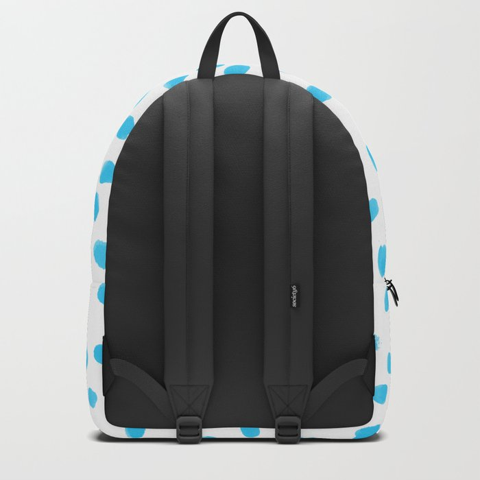 Aqua Teal Dots Polkadots on White Background - Mix & Match Backpack