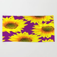 Sunflowers on a purple background - summer mood - #Society6 #buyart Beach Towel