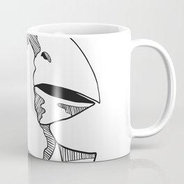 South Island Takahe Wearing Tie Drawing Black and White Coffee Mug
