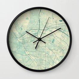 El Paso Map Blue Vintage Wall Clock