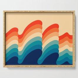 Retro 80s 70s Blue and Orange Mid-Century Minimalist Abstract Art Ripples Serving Tray